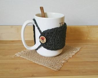 MUG COZY- Dark Grey Crochet Mug Cozy