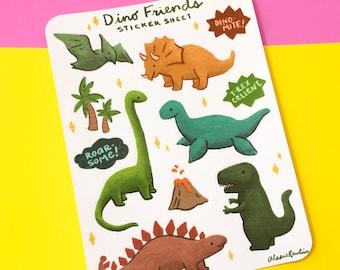 Dino Friends Sticker Sheet - cute dinosaurs, funny pun stickers, t-rex stegosaurus brontosaurus, cute art, planner journaling scrapbooking