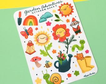 Garden Adventures Sticker Sheet - flower stickers gardening gift, floral cute hand drawn artwork, planner journaling scrapbooking stickers