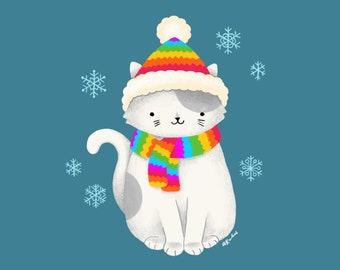 Kitty Hat Art Print - rainbow art, cat lover gift, cute cat owner art, winter fall snowflakes illustration, gift for her him, home decor