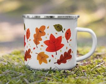 Fall Leaves Enamel Mug - Camping coffee mug, happy kawaii fall leaves, hand illustrated mug, autumn foliage, holiday gift for friend family