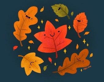Autumn Leaves Art Print - happy kawaii leaves, fall season red orange maple oak leaves, Christmas gifts, cute art, cozy hygge illustration