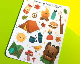 Camping Fun Sticker Sheet - cute hand drawn artwork, planner journaling or scrapbooking stickers, fun camping illustrations, s'mores tents