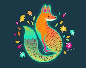 Fox Alebrije Art Print - cute fox artwork, fox lover gift, colorful Mexican folk art, animal lover gift, home decor wall art, hand drawn art