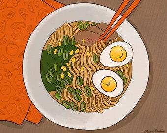 Happy Ramen Art Print - foodie gift, noodle lover, kawaii food, Japanese food, restaurant wall art, home kitchen decor, cute illustration