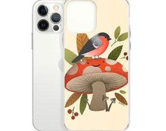 Bird & Happy Mushroom Fall iPhone Case - cute autumn artwork, woodland animals - fits iPhone 12, 11, XR, XS, X, 8, 7, 6, 6S, Plus, Pro Max