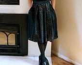 SAMPLE size S black eyelet skirt (lined)  w/ pockets