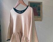 silk blouse w/black polka dot trim.  size xs.