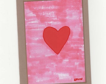 With All My Heart, Blank Note Card, Valentine Greeting, I Love You, Thinking Of You