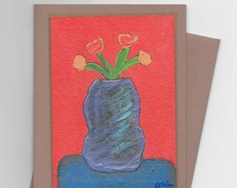 Flowers With Vase Folded Cards