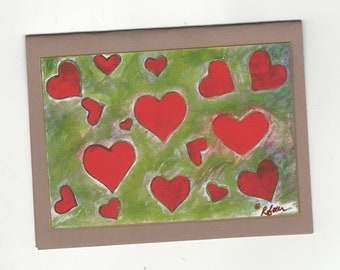 Golden Hearts Fine Art Note Card, Valentine, I Love You, Thinking of You