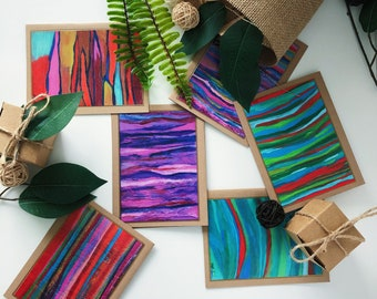Set Of Six Abstract Art Folded Cards, Stationery, Greeting Cards, Letter Writing