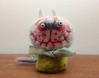 OOAK Needle felted Zombie Cat Toy Shelf Sitter Ready to Ship