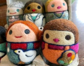 Needle Felted Wool Toy Eggbox Girls