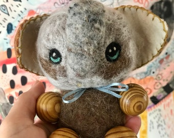 One Of a Kind Needlefelted Old Fashioned Elephant