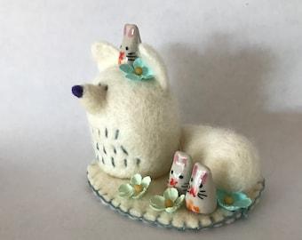 Needle Felted Arctic Fox and Snow Bunny Mini Montage