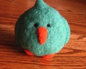 Needlefelted bluebird ball