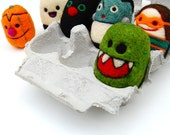 Set of 6 tiny Halloween Egg People in egg carton