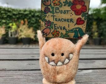 Sign Monster Best Teacher Ever in Peach