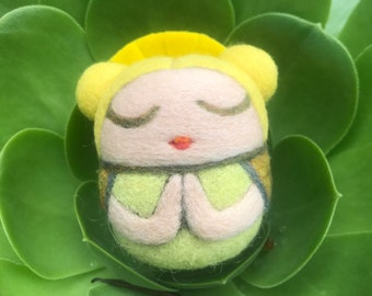 Needlefelted Namaste Yoga Girl - wool - Meditation - ready to ship