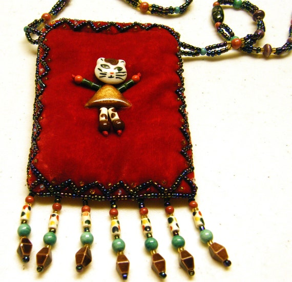 Cat Beaded Side Pouch Purse