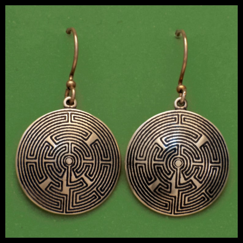 French TOURAINE LABYRINTH Bronze Earrings image 0
