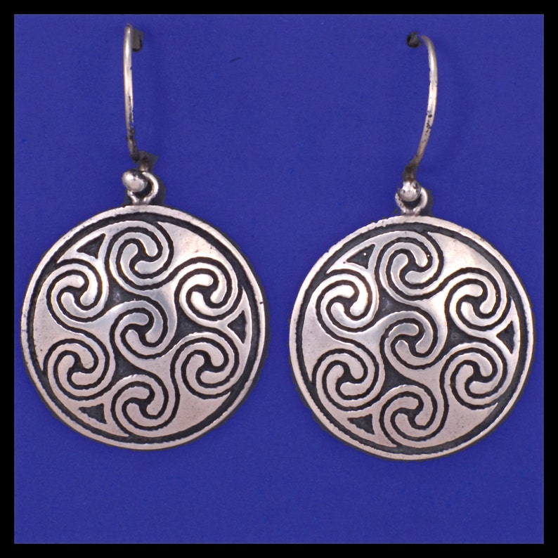 Celtic OBAR LEAMHNACH SPIRAL Earrings Sterling Silver image 0