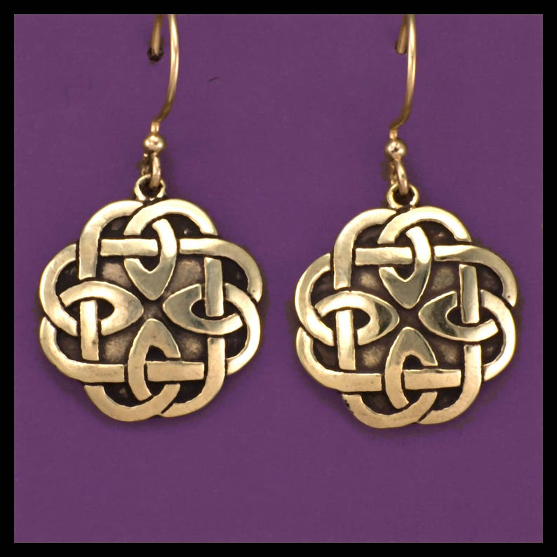 CELTIC KNOT WORK Book of Kells Earrings Bronze image 0
