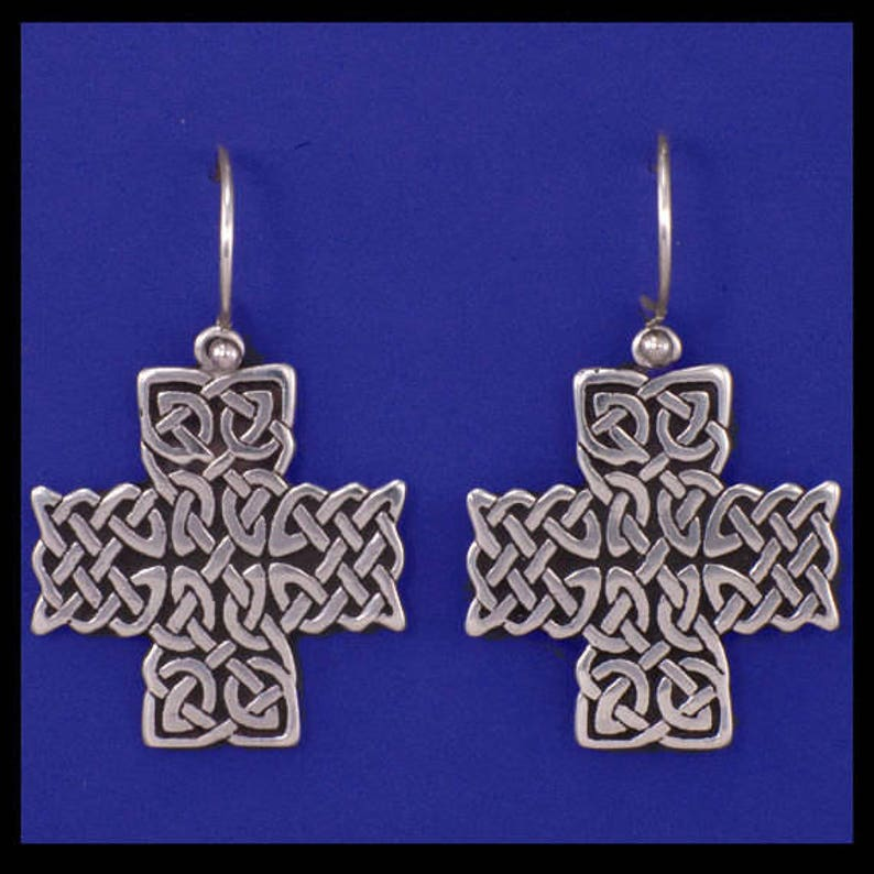 Celtic St. John Cross Earrings Sterling Silver image 0