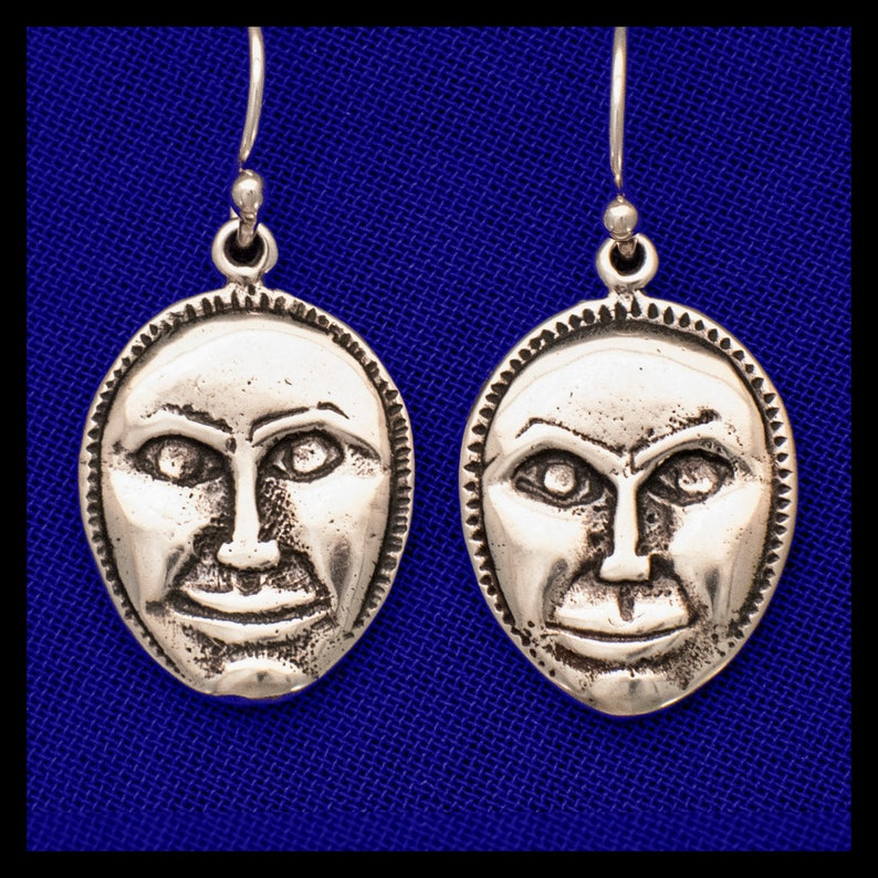 Moon Face Rattle Sterling Silver Earrings image 0