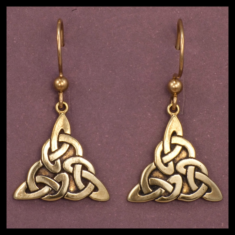 Celtic TRIQUETRA KNOT-WORK  Earrings Bronze image 0