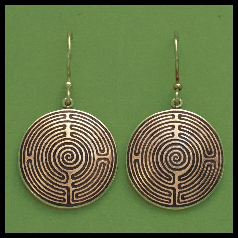 SHEPHERDS RACE LABYRINTH Bronze Earrings image 0