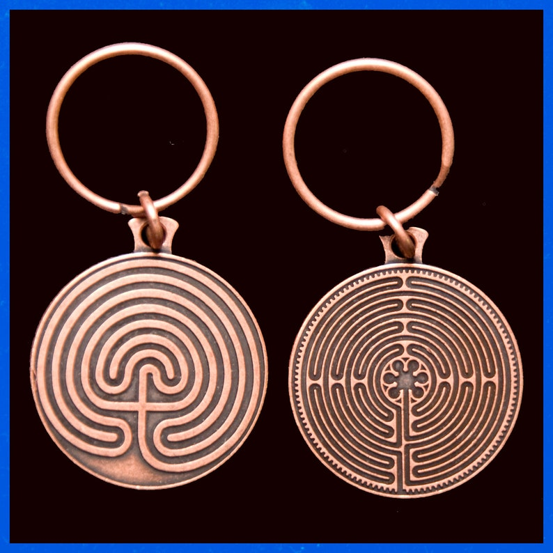Labyrinth Key Chain Copper Tone 2 Sided 11 Circuit & 7 image 0