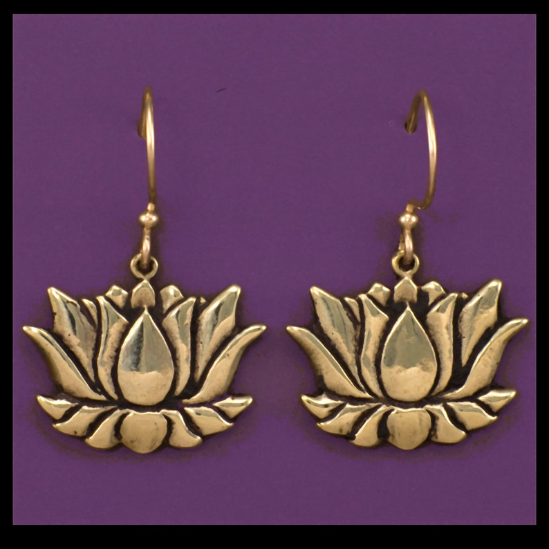 LOTUS Buddhist Earrings Bronze image 0