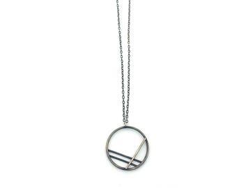 Collier géométrique en argent noirci, Collier cercle, collier pendentif Minimal, argent Sterling oxydé bijoux, cadeau pour elle
