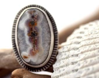 Grosse bague, bague Quartz solaire, anneau de déclaration inhabituelle en argent Sterling, grand anneau, bague estampillé à la main, argent oxydé et bijoux de Quartz