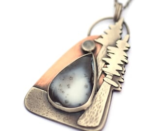 Mixte de collier en métal, Redwood Coast, argent Sterling, Pierre de lune et pendentif en opale dendritique, Nature bijoux, collier de cuivre et d'argent
