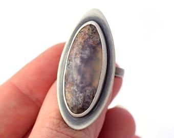 Bague originale, Agate et bague en argent Sterling, bijoux de déclaration, grand anneau, anneau de déclaration, taille 5,75, Plume Agate bague, anneau de petit doigt