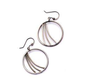Sterling Silver Hoop Earrings, Swoosh Earrings, Oxidized Silver Earrings, Modern Jewelry, Silver and Black Minimal Earrings, Circle Dangles