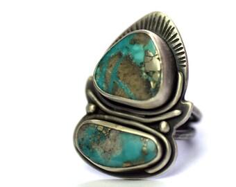 En argent sterling et Turquoise bague taille 6.5, bague, bijoux Bohème, bijoux Turquoise Campitos, oxydé bague en argent