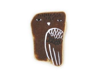 Healing Shard, Brown Beach Pottery Owl