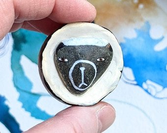 Bear Sculpture - Painted Beach Stone and Airdrying Clay