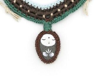 Crocheted Necklace with Painted Beach Stone Jizo Pendant, Macramé, Wearable Art, Freeform Crochet