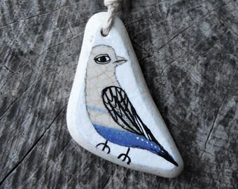 Healing Shard Necklace - Blue Beach Pottery Bird