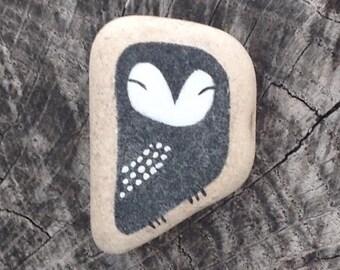 Dark Blue Beach Pottery Tile Owl