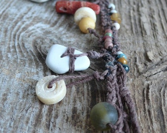 Beach Pottery Necklace - Beaded, Braided and Knotted - Double-sided - Coral, Bone, Seed, Wood, Glass, Ceramic - Boho, Warm, Color, Natural