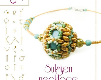 Beading tutorial / pattern Sulgien necklace with Tila and Superduo beads. Beading instruction in PDF – for personal use only