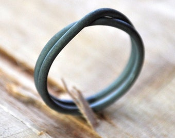 Oxidized Sterling Silver Infinity Ring. Black. Grey. Gunmetal. Handmade in your Size. Women's Wedding Band.