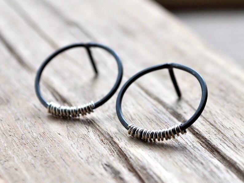 Silver Lining Small Hoop Earrings  Grey Oxidised Sterling image 0