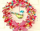 CHRISTMAS SALE Decorative Fabric Wreath with Birdie - Large